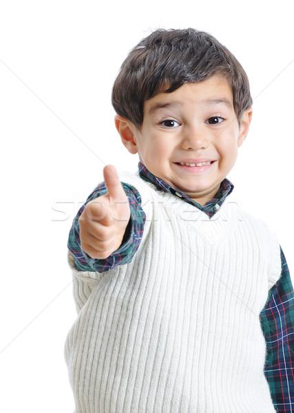 Weinig positief kid mooie kleding geïsoleerd Stockfoto © zurijeta