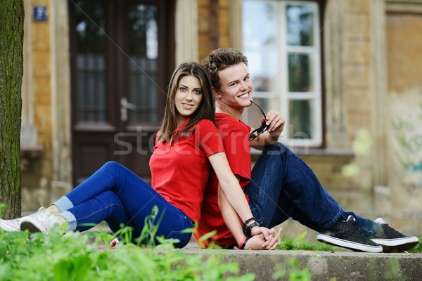 Young real people on the street posing for photos Stock photo © zurijeta