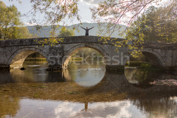 Oude brug rivier oude boog hemel Stockfoto © zurijeta