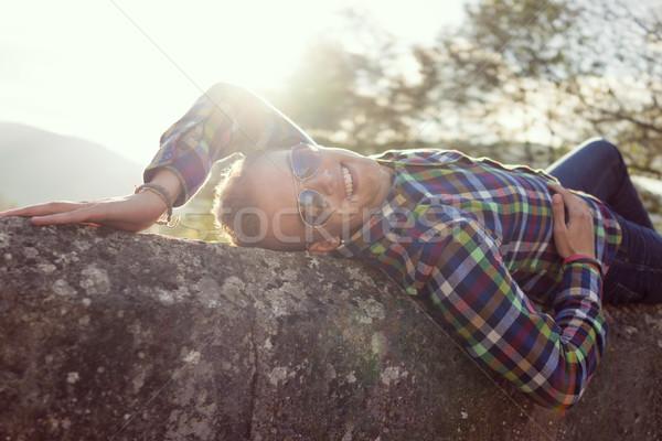 Genç eski taş köprü doğrudan güneş ışığı Stok fotoğraf © zurijeta