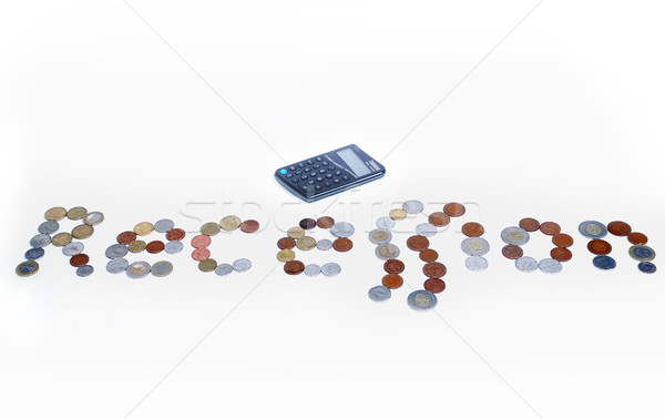 Many coins created a recession word isolated Stock photo © zurijeta