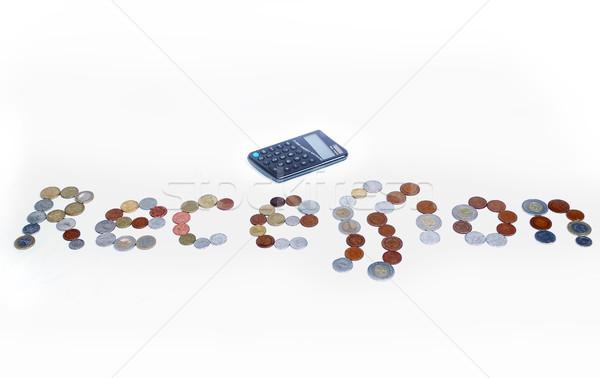 Sok érmék recesszió szó izolált papír Stock fotó © zurijeta