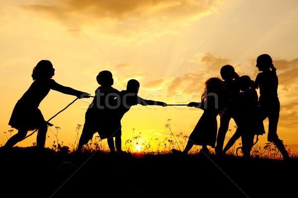 Sylwetka grupy szczęśliwy dzieci gry łące Zdjęcia stock © zurijeta