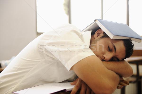 Teen student sleeping at classroom Stock photo © zurijeta