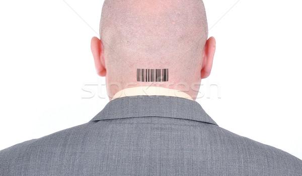 Jóvenes calvo empresario atrás código de barras cabeza Foto stock © zurijeta