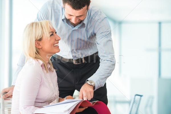 Happy colleagues in office Stock photo © zurijeta