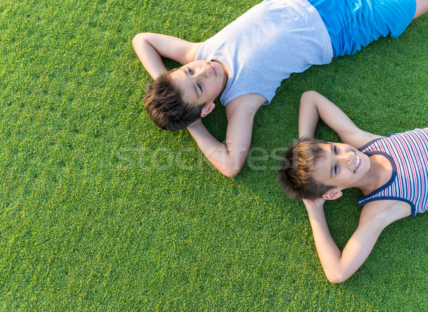 The best summer holiday vacation laying on perfect green grass Stock photo © zurijeta