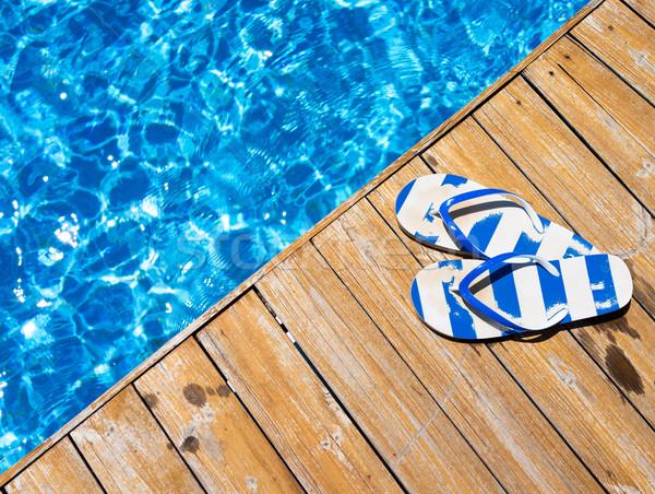 Papucs medence tengerpart fa tájkép nyár Stock fotó © zurijeta