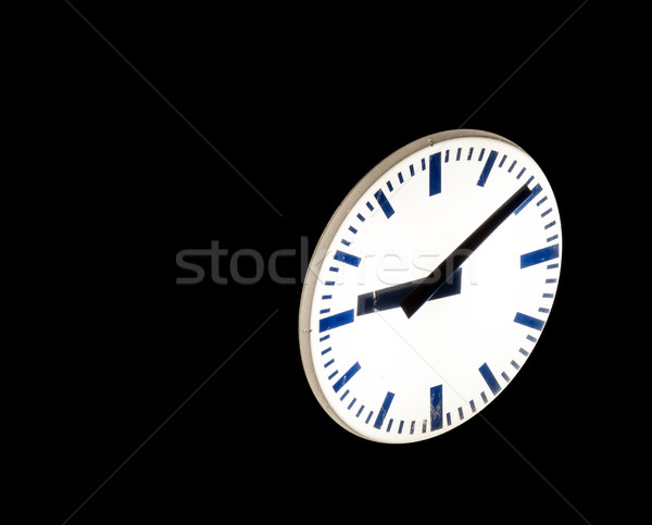 Stockfoto: Nacht · straat · klok · licht · tijd · horloge