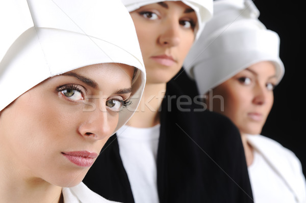 Sensuality, white hat, women Stock photo © zurijeta
