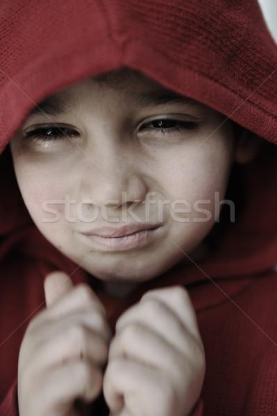 Stock photo: Boy, afraid, worried