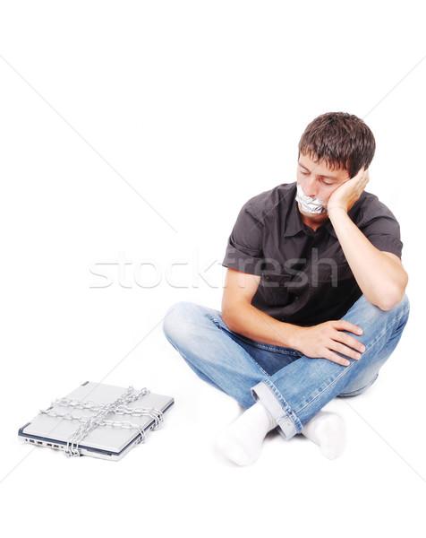 Uomo isolato bocca laptop computer musica Foto d'archivio © zurijeta