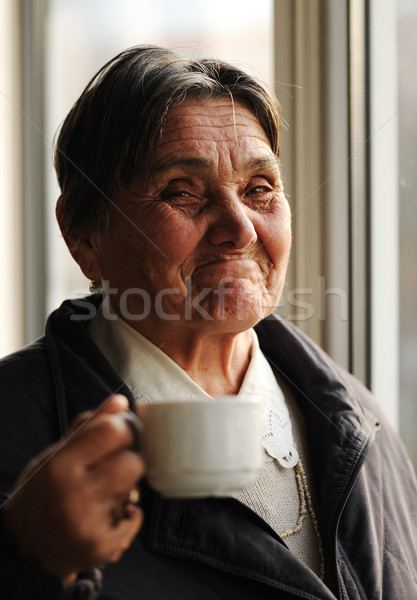 Portret gelukkig glimlachend senior vrouw naast Stockfoto © zurijeta