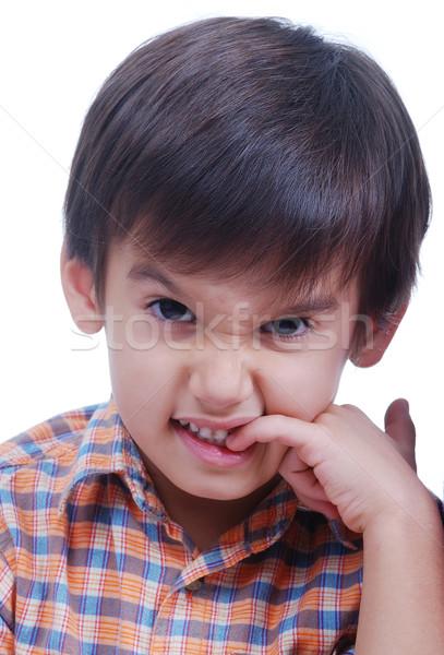 Cute jongen geïsoleerd kind portret Stockfoto © zurijeta