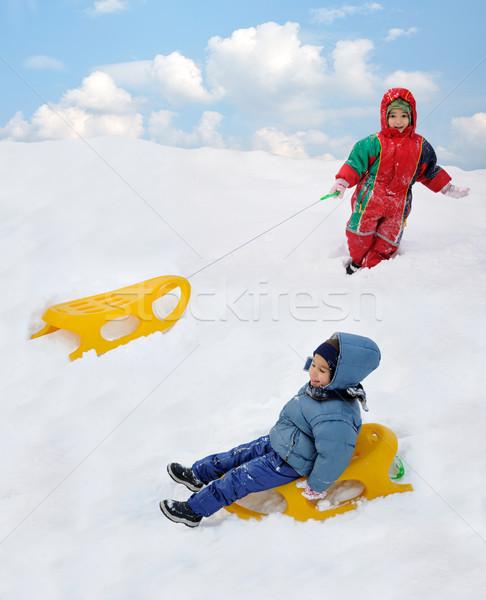 Groot activiteit sneeuw kinderen geluk bos Stockfoto © zurijeta