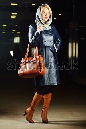 Modieus jonge man leder kleding meisje Stockfoto © zurijeta
