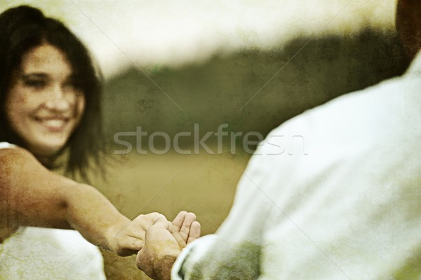 Colorized photo of a loving couple engaged in nature Stock photo © zurijeta