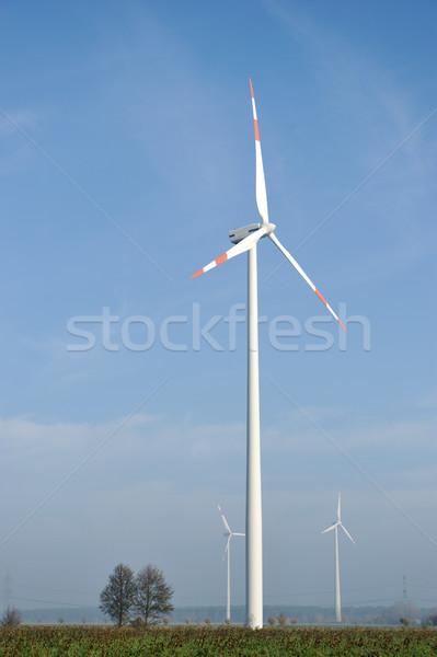 Wind turbines farm, electric propellers Stock photo © zurijeta
