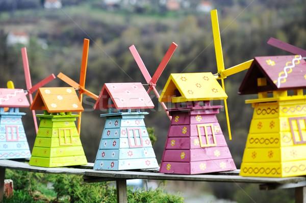 Velho brinquedos moinho de vento feito à mão brinquedo Foto stock © zurijeta