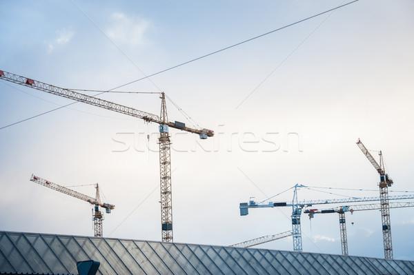 Building crane site Stock photo © zurijeta