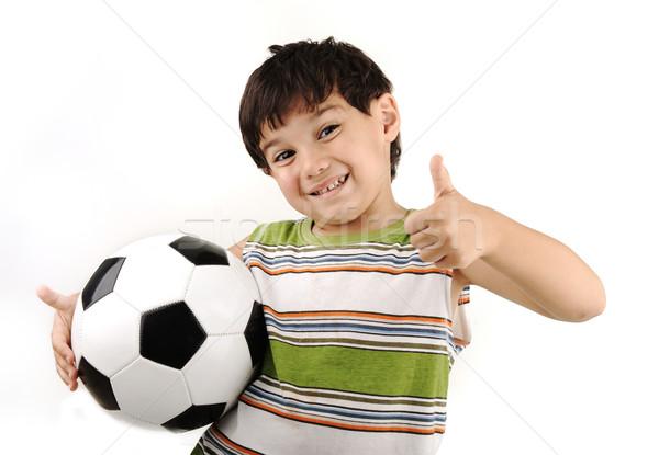 Foto stock: Deporte · nino · fútbol · pulgar · hasta · signo