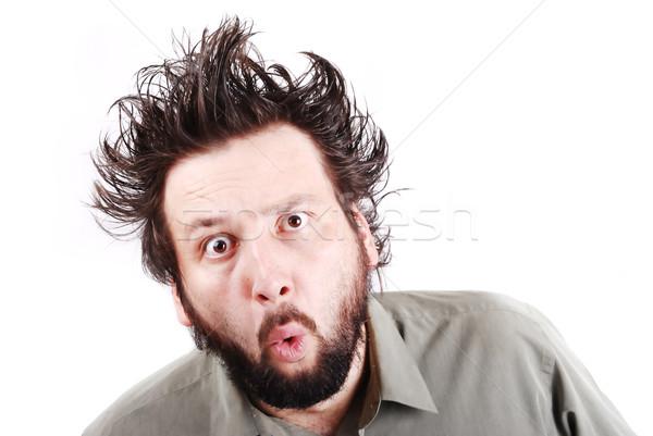 Crazy jungen Geschäftsmann Gesichtsausdruck Business Gesicht Stock foto © zurijeta