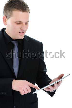 Exitoso empresario ipad trabajador éxito gerente Foto stock © zurijeta