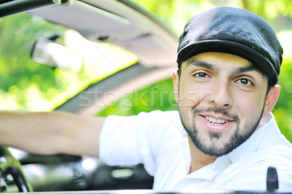 Portret man auto gelukkig bos natuur Stockfoto © zurijeta