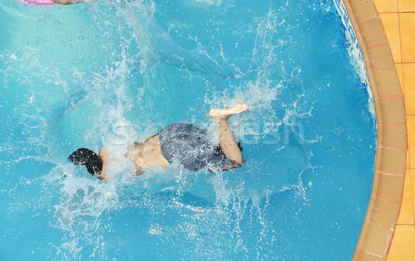 Ugrik csobbanás nyár víz medence textúra Stock fotó © zurijeta