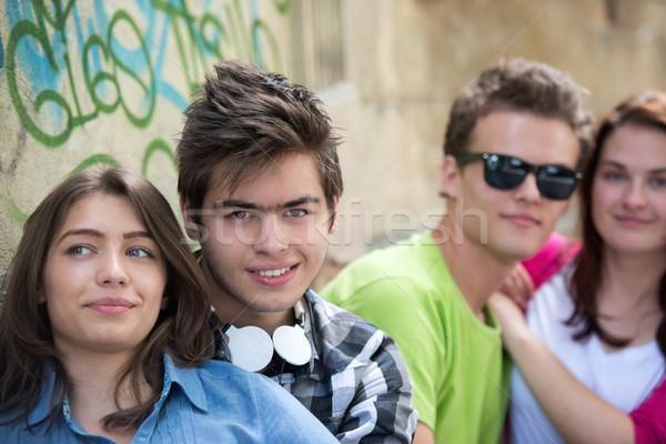 Two smiling adolescent couples Stock photo © zurijeta