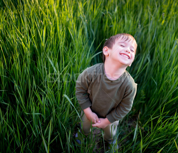 Smiling cute boy in summer grass Stock photo © zurijeta