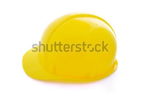 Védősisak izolált fehér építkezés háttér narancs Stock fotó © zurijeta