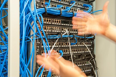 Issue with wires at sever room Stock photo © zurijeta
