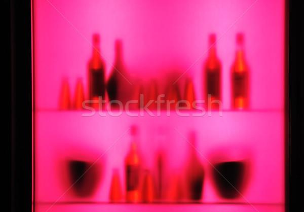Soyut bulanık asma şişeler gözlük raf Stok fotoğraf © zurijeta