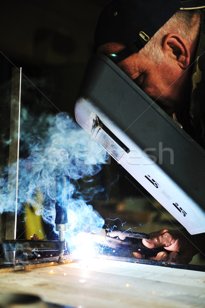 Gyár hegesztő férfi munka munkás ipari Stock fotó © zurijeta