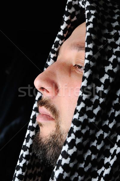 Dini Arapça adam portre siyah karanlık Stok fotoğraf © zurijeta