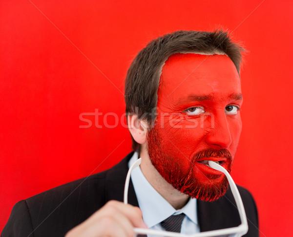 若い男 赤 描いた 顔 コピースペース 目 ストックフォト © zurijeta