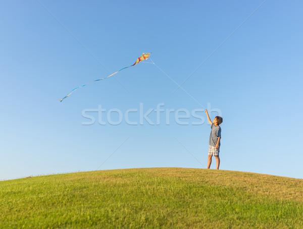 Fut papírsárkány nyári szabadság vakáció tökéletes legelő Stock fotó © zurijeta