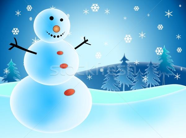 Geïllustreerd sneeuwpop sneeuw sneeuwvlokken geluk boom Stockfoto © zurijeta