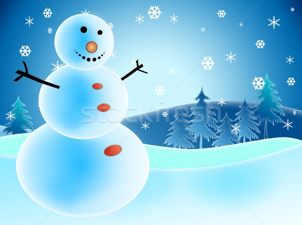 Ilustrado boneco de neve neve flocos de neve felicidade árvore Foto stock © zurijeta