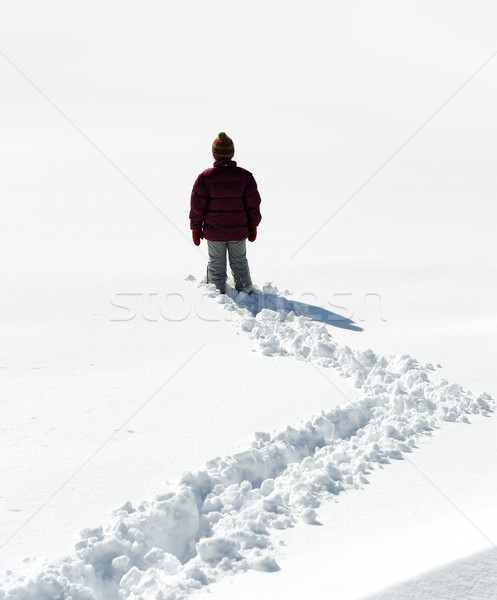 ходьбе снега ребенка ногу белый человека Сток-фото © zurijeta