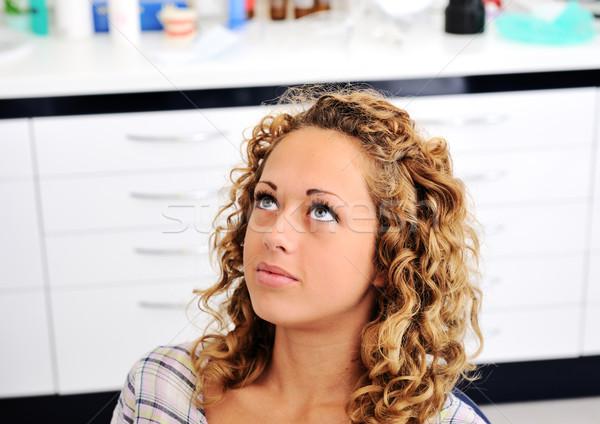 Dentist's teeth checkup, series of related photos Stock photo © zurijeta