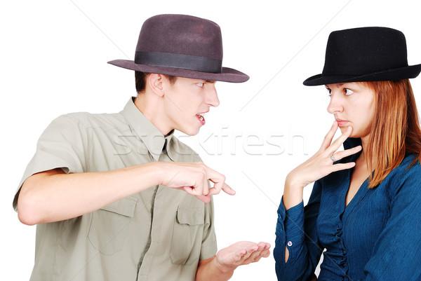 Kettő fiatal felnőttek veszekedik egyéb kezek arc Stock fotó © zurijeta