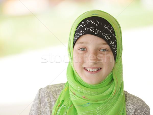 Retrato musulmanes nina nina cute pecas Foto stock © zurijeta