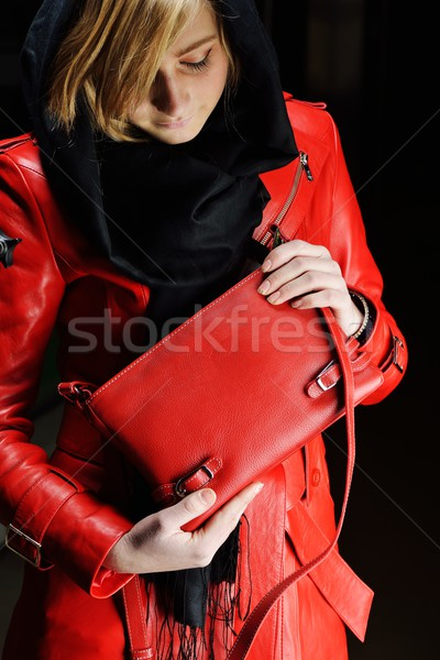 Muslim fashionable girl with leather jacket Stock photo © zurijeta