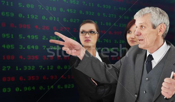 Successful group analyzing stock market on large digital display Stock photo © zurijeta