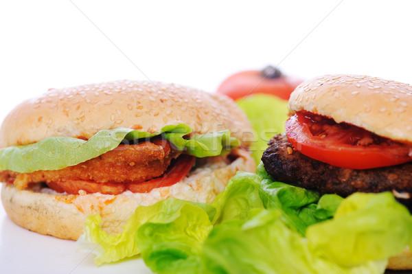 Sağlıklı sağlıksız gıda gıda et sandviç yeme Stok fotoğraf © zurijeta