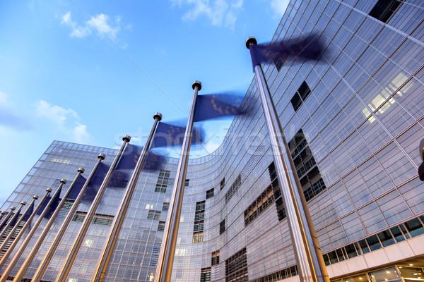 Zdjęcia stock: Flagi · europejski · Unii · budynku · Bruksela