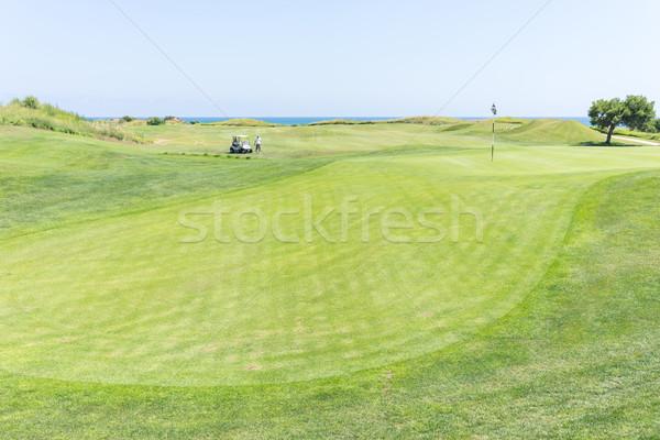 Golf sahası su golf doğa manzara yeşil Stok fotoğraf © zurijeta