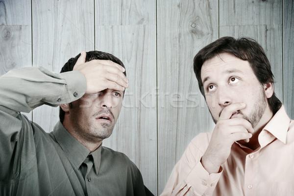 Endişeli iki işadamları iş erkekler işçi Stok fotoğraf © zurijeta